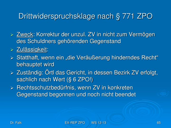 Drittwiderspruchsklage nach § 771 ZPO
