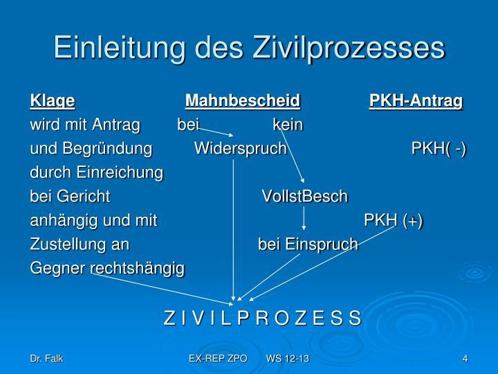 Einleitung des Zivilprozesses