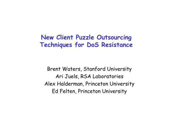 new client puzzle outsourcing techniques for dos resistance