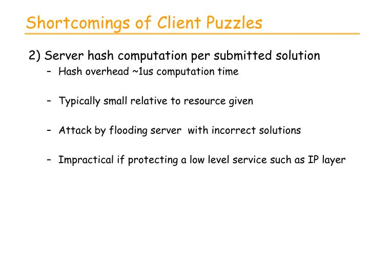 Shortcomings of Client Puzzles