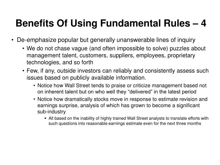 Benefits Of Using Fundamental Rules – 4