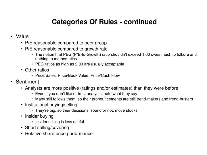 Categories Of Rules - continued