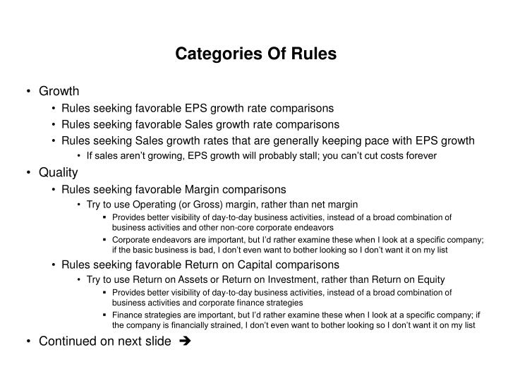 Categories Of Rules