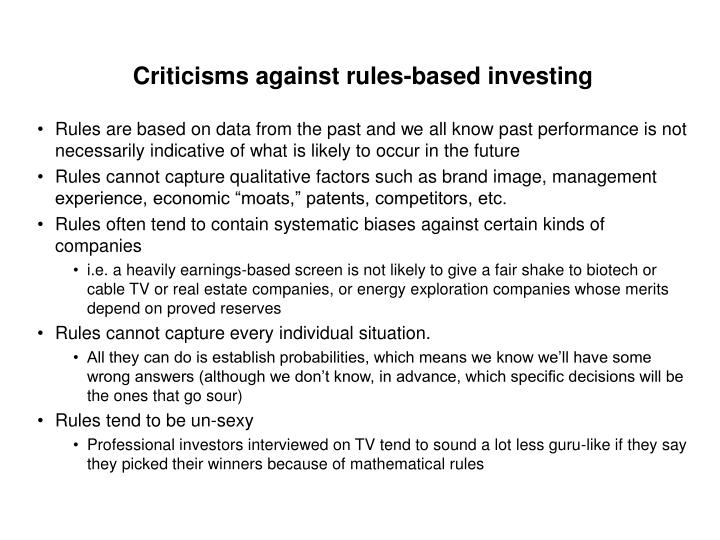 Criticisms against rules-based investing