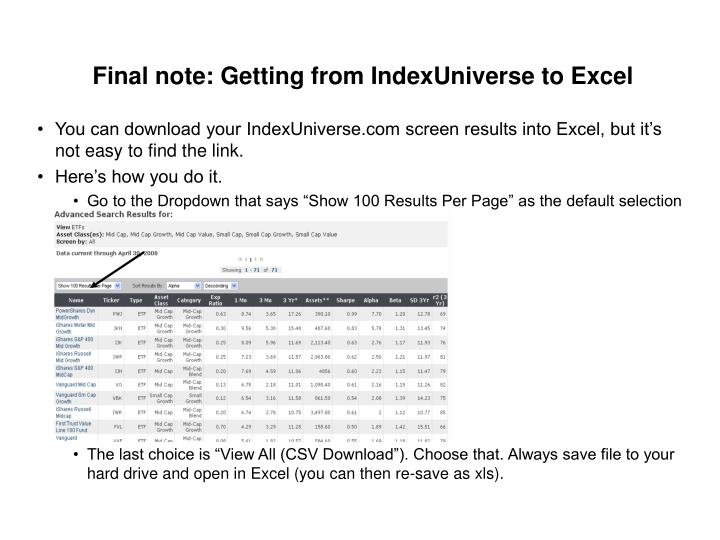 Final note: Getting from IndexUniverse to Excel