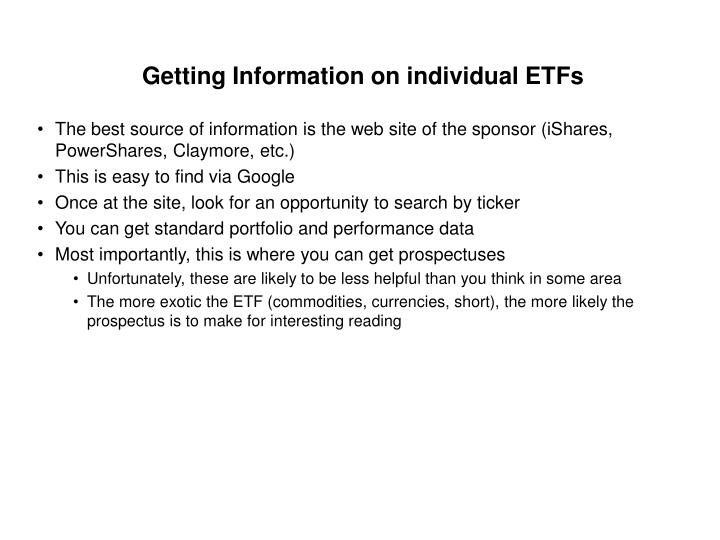 Getting Information on individual ETFs