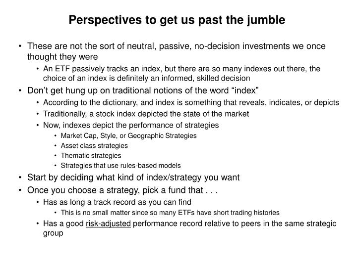 Perspectives to get us past the jumble