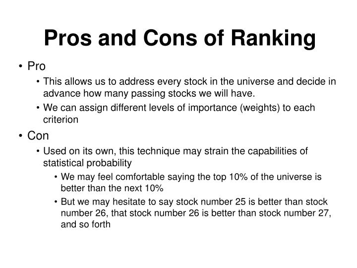 Pros and Cons of Ranking