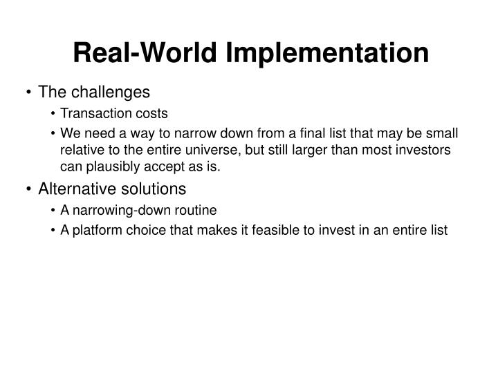 Real-World Implementation
