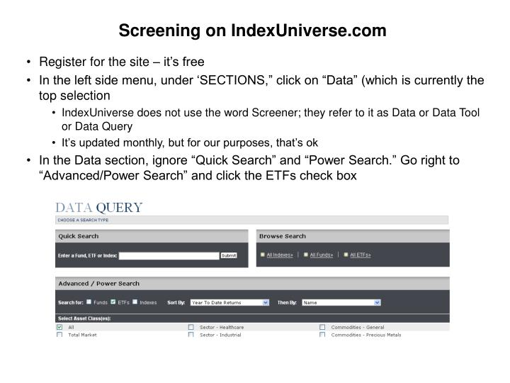 Screening on IndexUniverse.com