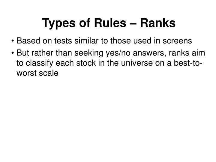 Types of Rules – Ranks