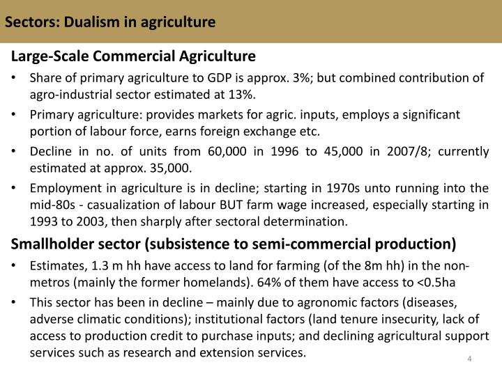 Sectors: Dualism in agriculture