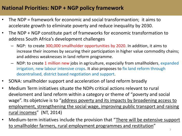 National Priorities: NDP + NGP policy