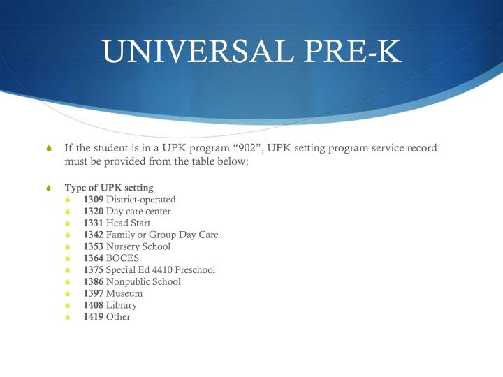 UNIVERSAL PRE-K