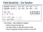 field sensitivity our solution