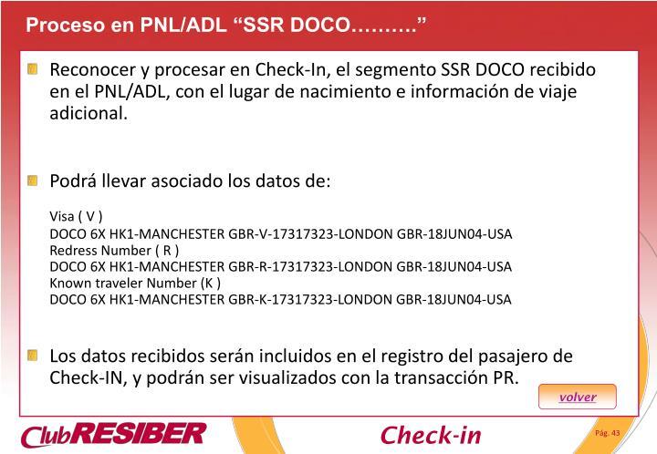 "Proceso en PNL/ADL ""SSR DOCO………."""