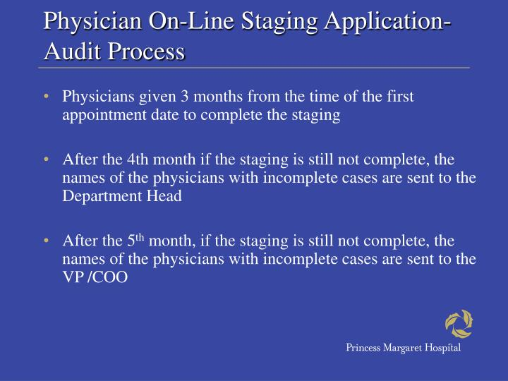 Physician On-Line Staging Application-Audit Process