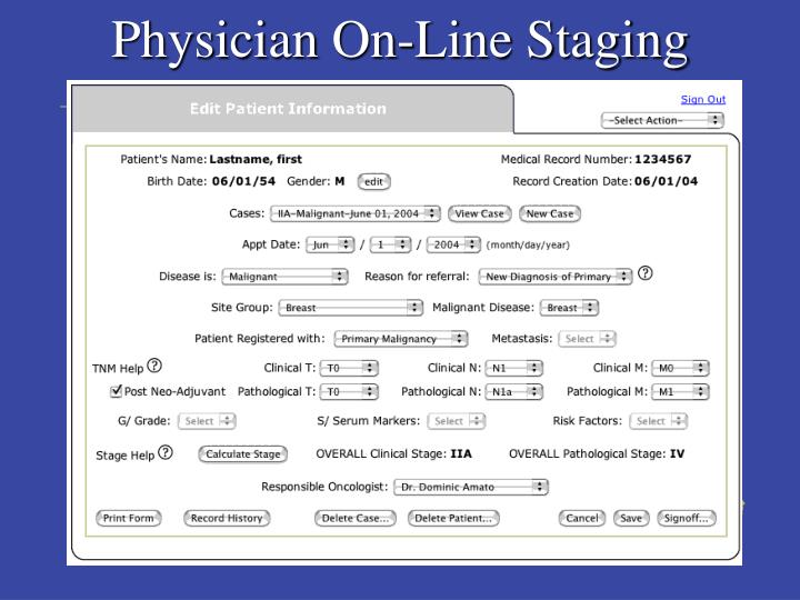 Physician On-Line Staging