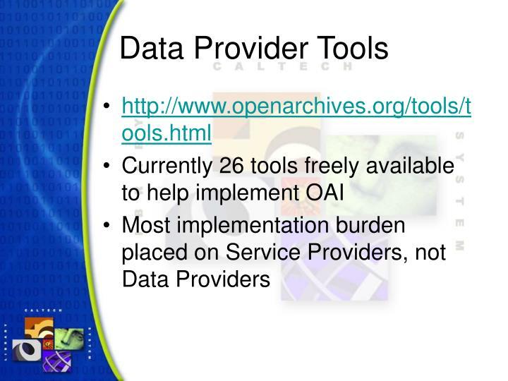 Data Provider Tools