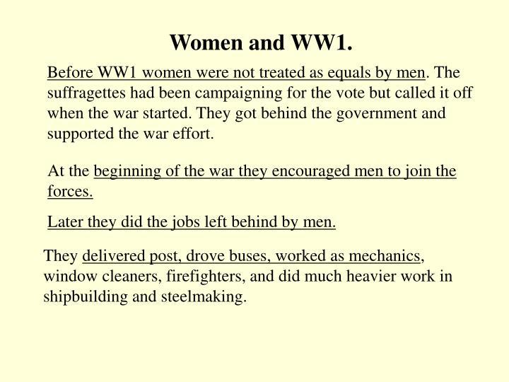 Women and WW1.