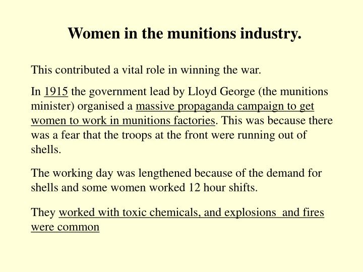 Women in the munitions industry.