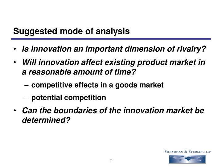 Suggested mode of analysis