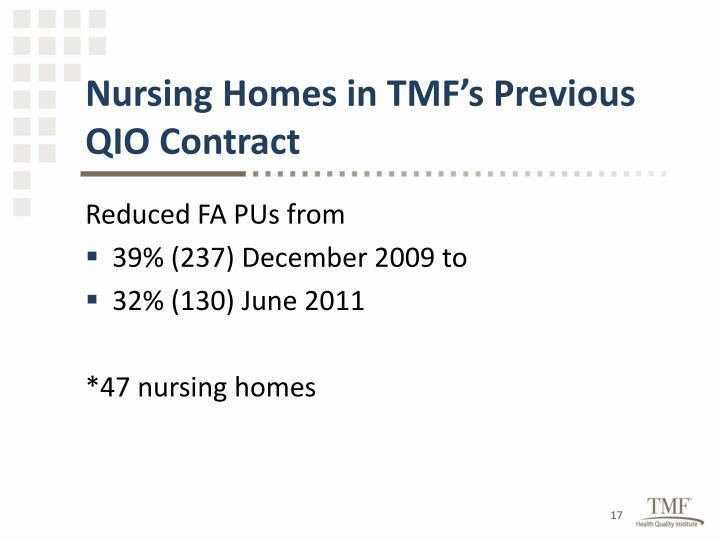 Nursing Homes in TMF's Previous QIO Contract