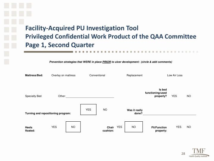 Facility-Acquired PU Investigation Tool