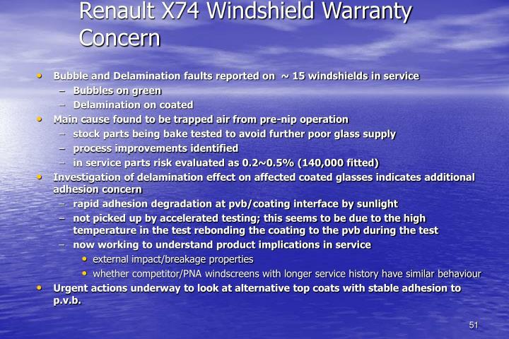 Renault X74 Windshield Warranty Concern