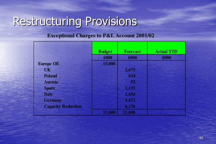 Restructuring Provisions