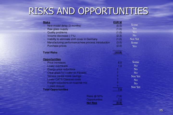 RISKS AND OPPORTUNITIES