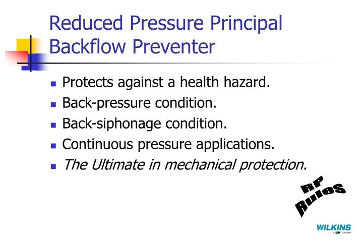 Reduced Pressure Principal Backflow Preventer