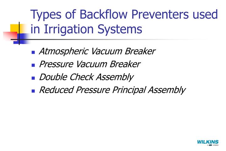 Types of Backflow Preventers used in Irrigation Systems