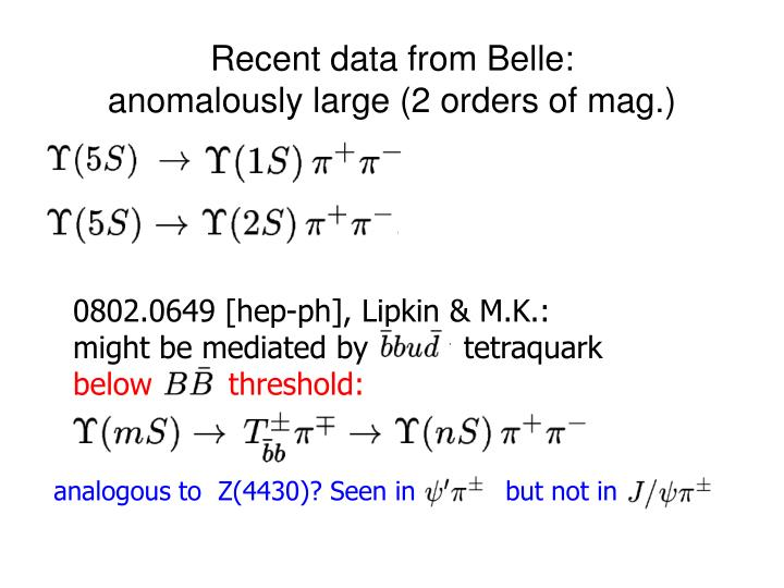 Recent data from Belle: