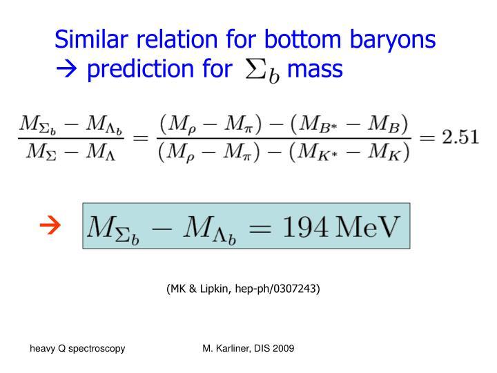 Similar relation for bottom baryons