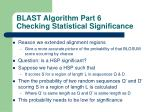 blast algorithm part 6 checking statistical significance