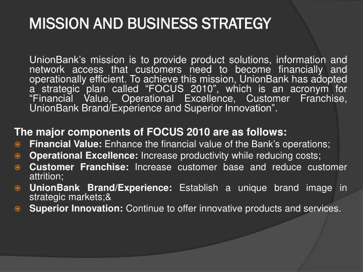 MISSION AND BUSINESS STRATEGY