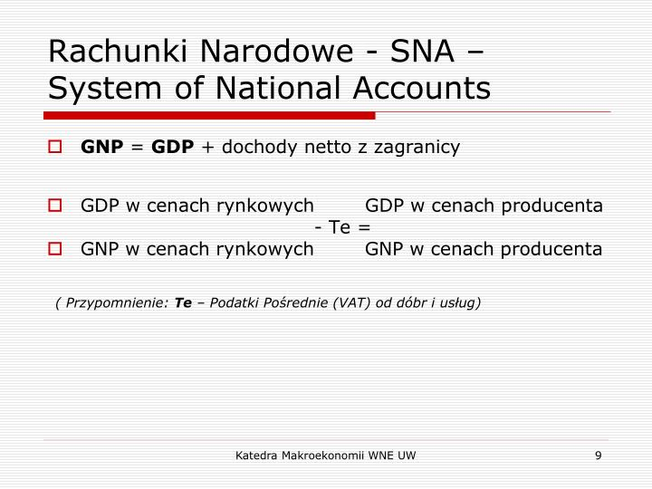 Rachunki Narodowe - SNA – System