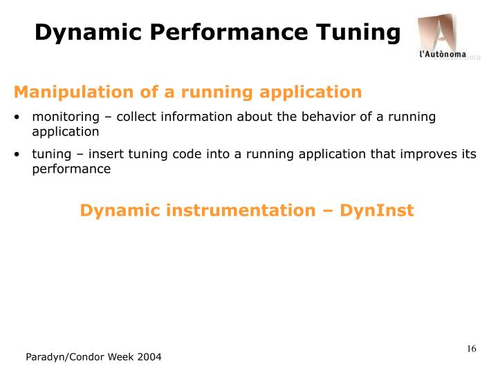Dynamic Performance Tuning