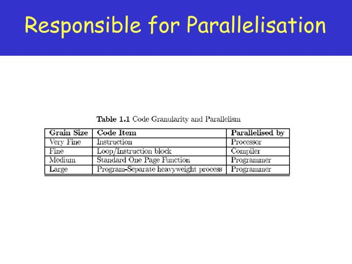 Responsible for Parallelisation