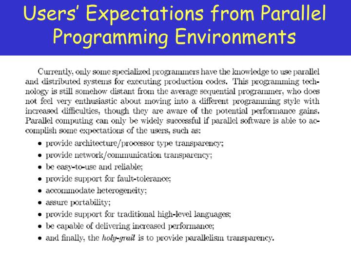 Users' Expectations from Parallel Programming Environments