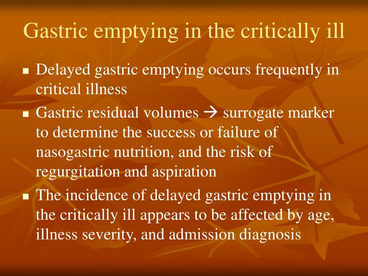 Gastric emptying in the critically ill