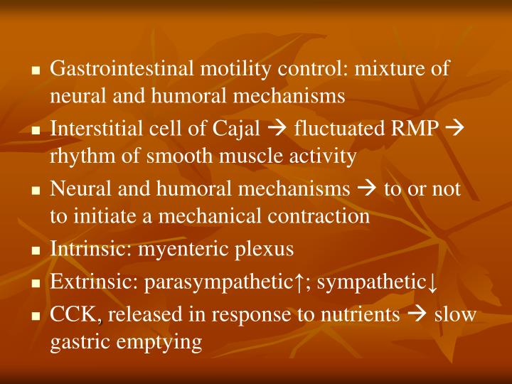 Gastrointestinal motility control: mixture of neural and humoral mechanisms