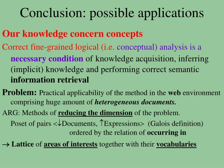 Conclusion: possible applications