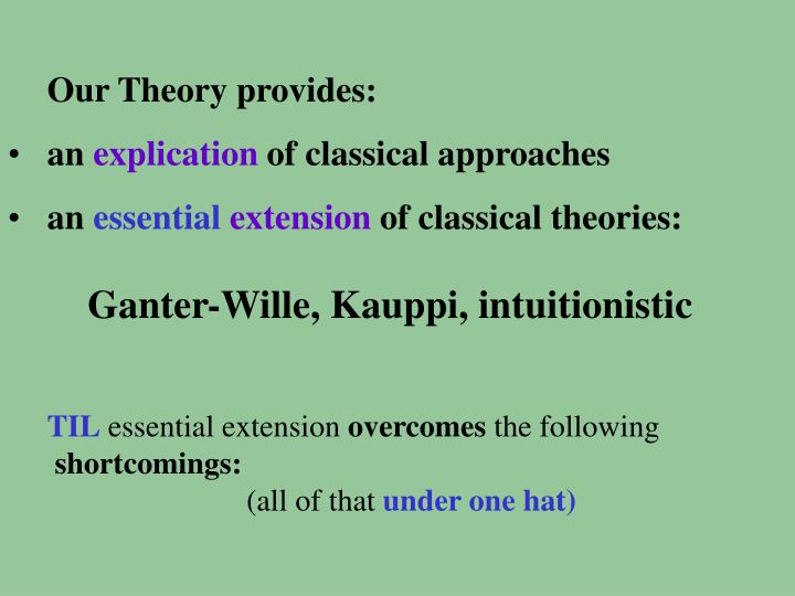 Our Theory provides: