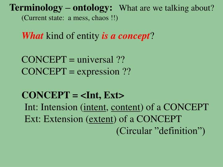 Terminology – ontology: