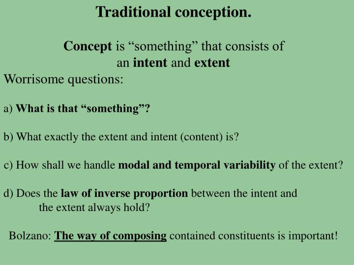 Traditional conception.
