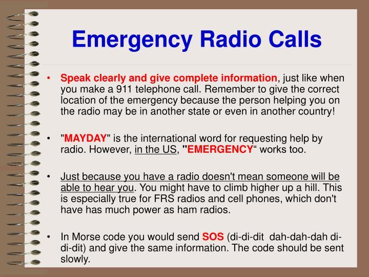 Emergency Radio Calls