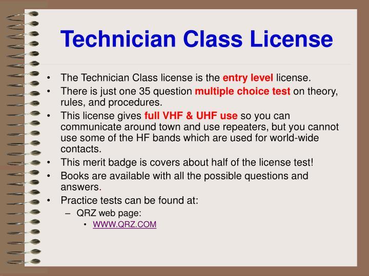 Technician Class License