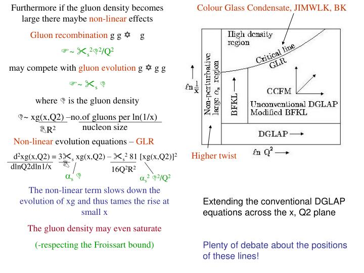 Furthermore if the gluon density becomes large there maybe